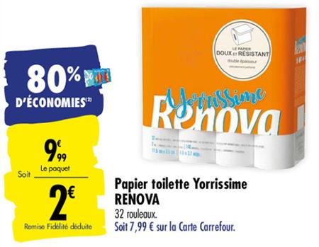 réduction sur le papier toilette Renova chez Carrefour