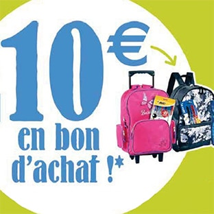 Reprise cartable Cora : 10€ offert en bon