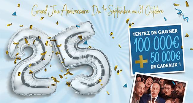 Grand Jeu Anniversaire 25 Ans.Jeu Guy Hoquet 100 000 Et 200 Cartes De 250 A Gagner