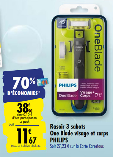 Promotion Rasoir OneBlade Philips de Carrefour