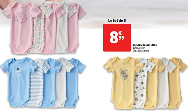 Lot de bodies pour bébé In Extenso à moindres frais chez Auchan
