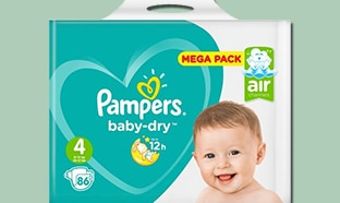 Promo Couches Pampers : -70% Auchan / réduction de 2,50€