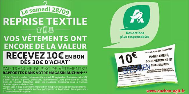 Auchan reprend vos anciens vêtements contre un bon d'achat