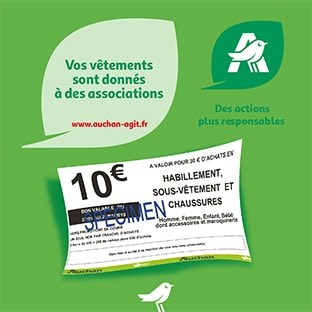 Auchan reprise textile : 10€ offerts en bon d'achat