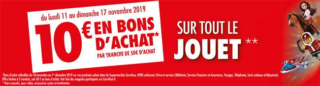 10€ offerts chez Carrefour tous les 50€ d'achat de jouets de Noël