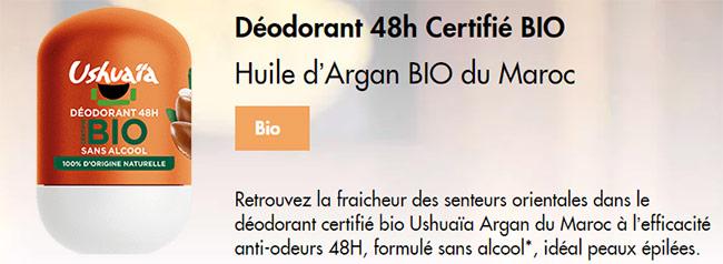 Testze le déodorant bille Ushuaïa à l'huile d'Argan BIO