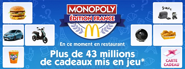 Principe du jeu Monopoly 100% gagnant 2020 de McDo