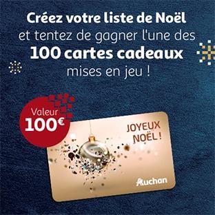 Jeu Auchan.fr Père Noël 2019 : 100 cartes cadeaux de 100€ à gagner