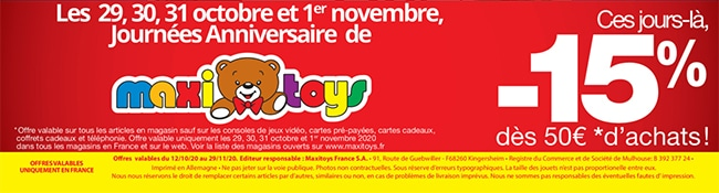Promotions jouets Maxitoys Noël 2020