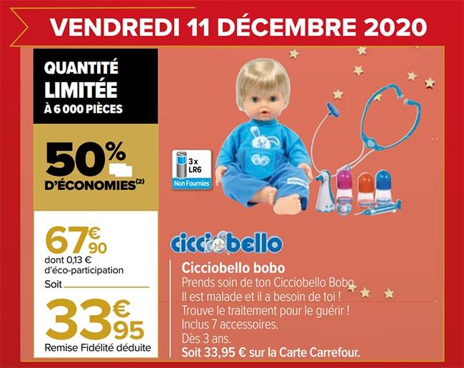 Promo Poupée Cicciobello Bobo chez Carrefour