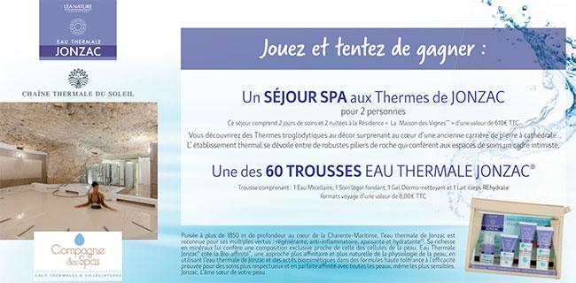 Les cadeaux Eau thermal Jonzac à gagner avec Auchan.fr