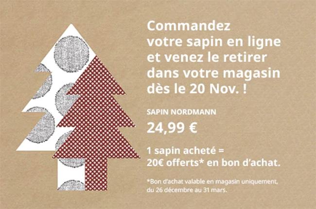 Offre promo sur le sapin de noël Ikea avec carte cadeau offerte