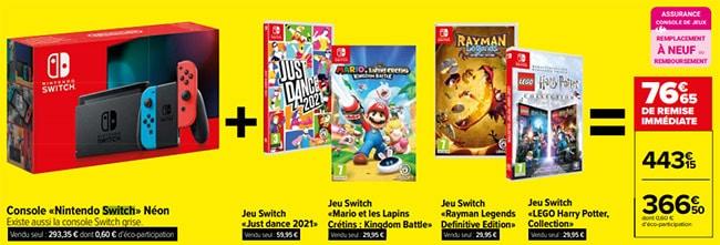 Pack Console Nintendo Switch avec 4 jeux chez Carrefour pour le Black Friday