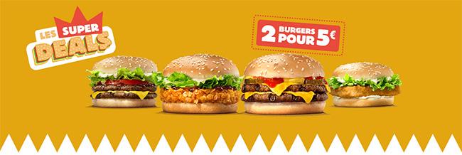 2 burgers King Deal pour seulement 5€ avec les super deals