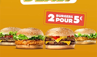Burger King Super Deals : 2 burgers pour 5€