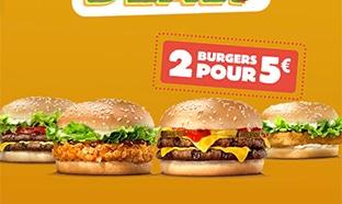 Burger King Super Deals : 2 burgers pour 5€
