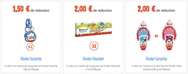 Coupons pour des remises sur les chocolats Kinder