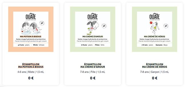 Recevez jusqu'à 3 échantillons de soins Ouate pour enfants
