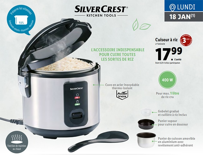 Cuiseur à riz SilverCrest Lidl à petit prix