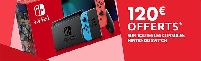 Obtenez 120€ offerts pour l'achat d'une Switch