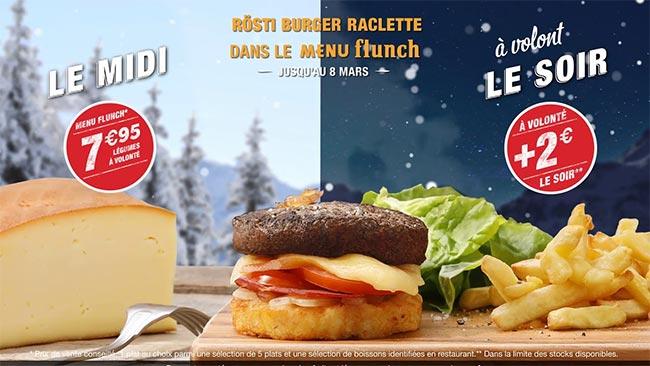 Rösti Burger Raclette à volonté pour chez Flunch