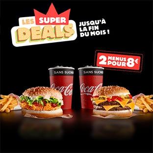 Super Deal Burger King : 2 menus pour 8€