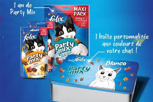 Tentez de gagner 1 an de Party Mix pour chat de Félix