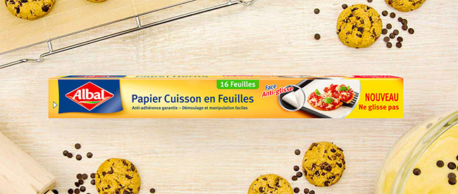 Tentez de tester gratuitement le papier cuisson anti-glisse d'Albal avec TRND