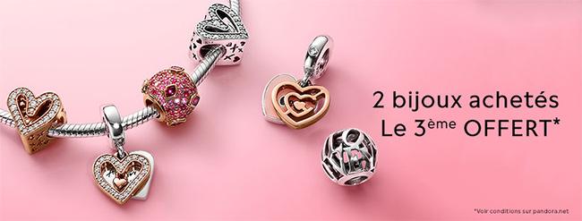 Obtenez 3 bijoux Pandora pour le prix de 2
