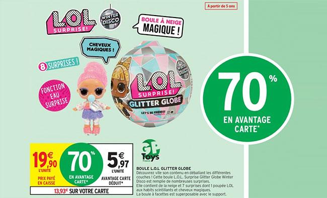 promotion Glitter Globe LOL Surprise à 5,97€ (remise fidélité déduite)