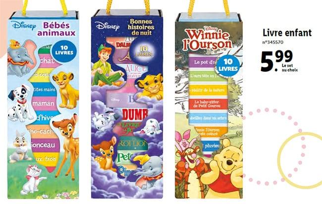 Ensemble de livres pour enfant Disney à petit prix chez Lidl