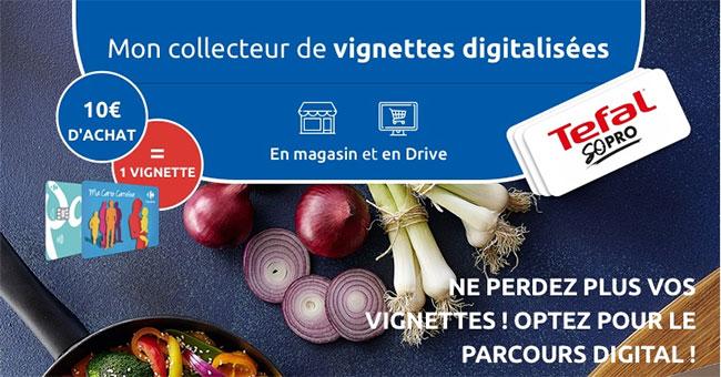 collecteur de vignettes digitalisées sur Carrefour.fr/tefal