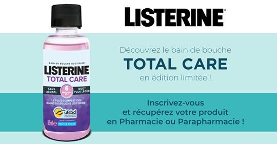 Retirer otre dose d'essai de bain de bouche Listerine