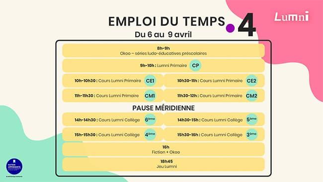 Programme Cours scolaires de France 4