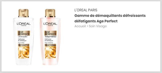 testez le lait démaquillant et le tonique Age Perfect de L'Oréal