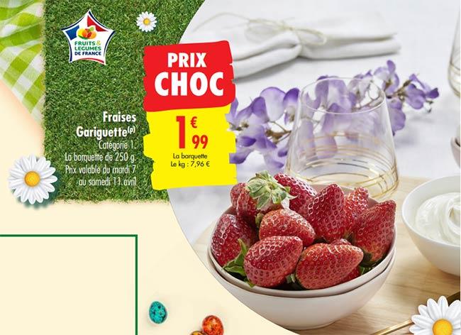 Barquette de fraises gariguette à petit prix chez Carrefour