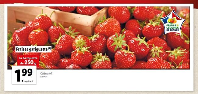 Barquette de fraises gariguette à petit prix chez Lidl