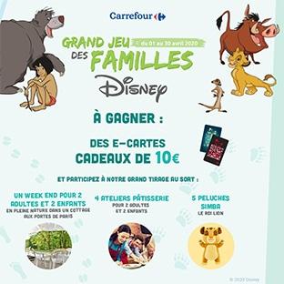 Jeu des Familles Disney Carrefour : 260 cadeaux à gagner