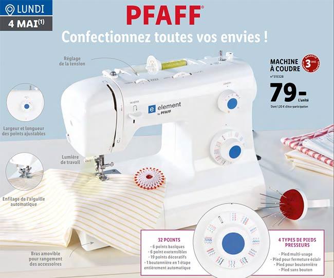Machine à coudre Pfaff à petit prix chez Lidl