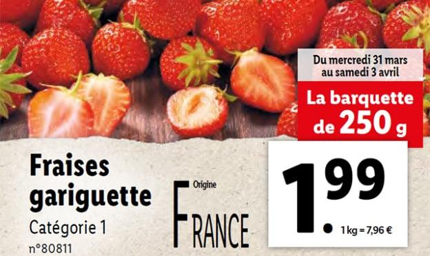Promo Lidl : Barquettes de fraises gariguette pas chères
