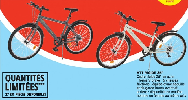 Vélo tout terrain à petit prix chez Intermarché