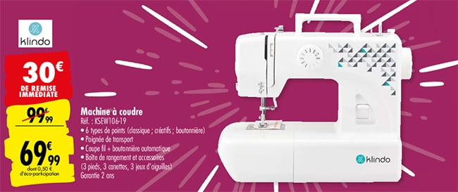 Machine à coudre Klindo à petit prix chez Carrefour