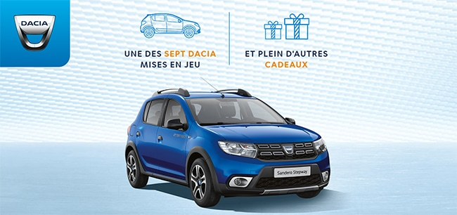 Tentez de gagner une Sandero et un autre cadeau au jeu 15ans Dacia