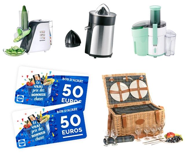 Tentez de gagner un bon d'achat, un panier pique-nique ou un appareil électroménager avec Lidl