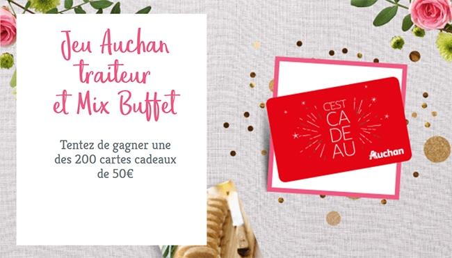 Tentez de remporter l'une des 200 cartes cadeaux de 50€ sur jeu.auchan.fr/traiteur2020