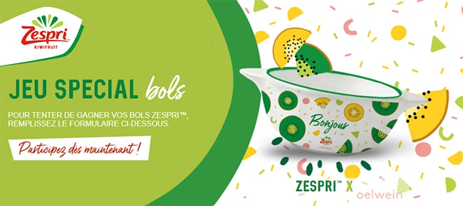 Tentez de remporter les 3 bols de la collection Oelwein & Zespri