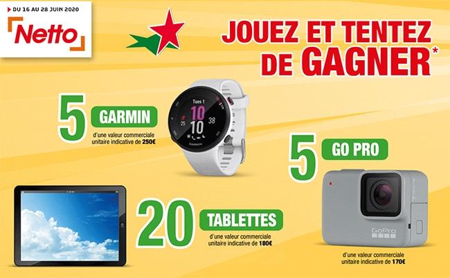 GTentez de gagner une Go Pro, une montre de sport ou une tablette sur www.netto-jeu.fr