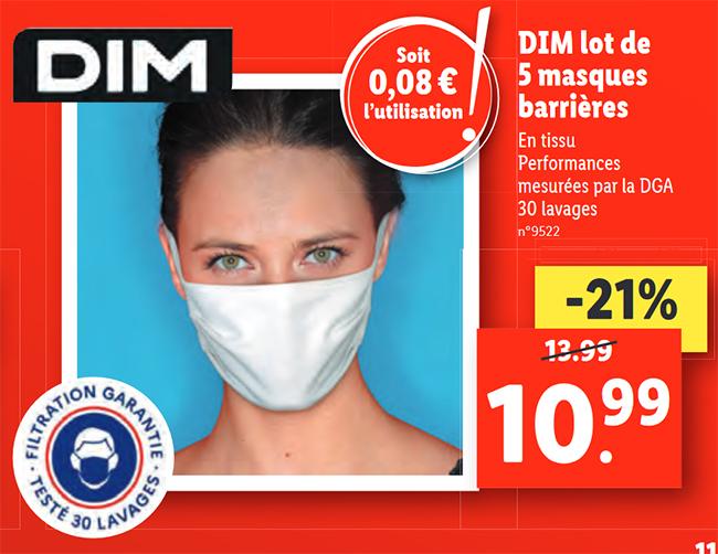 Masques lavables Dim à petit prix chez Lidl