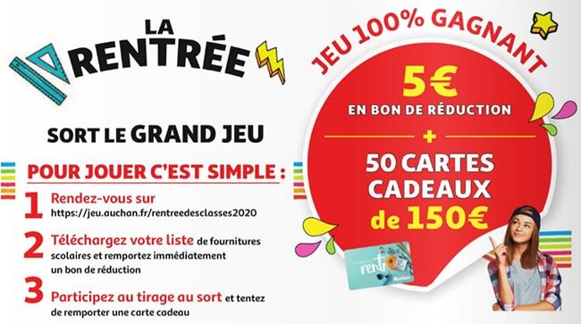 Gagnez aux instants gagnants sur jeu.auchan.fr/rentreedesclasses2020