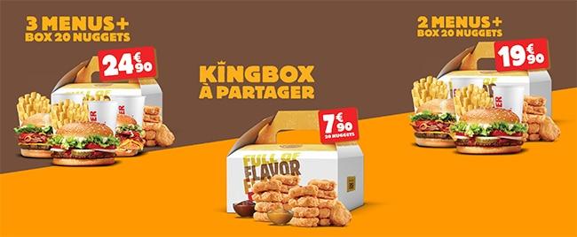 KingBox + menus à partager à moindres frais chez Burger King
